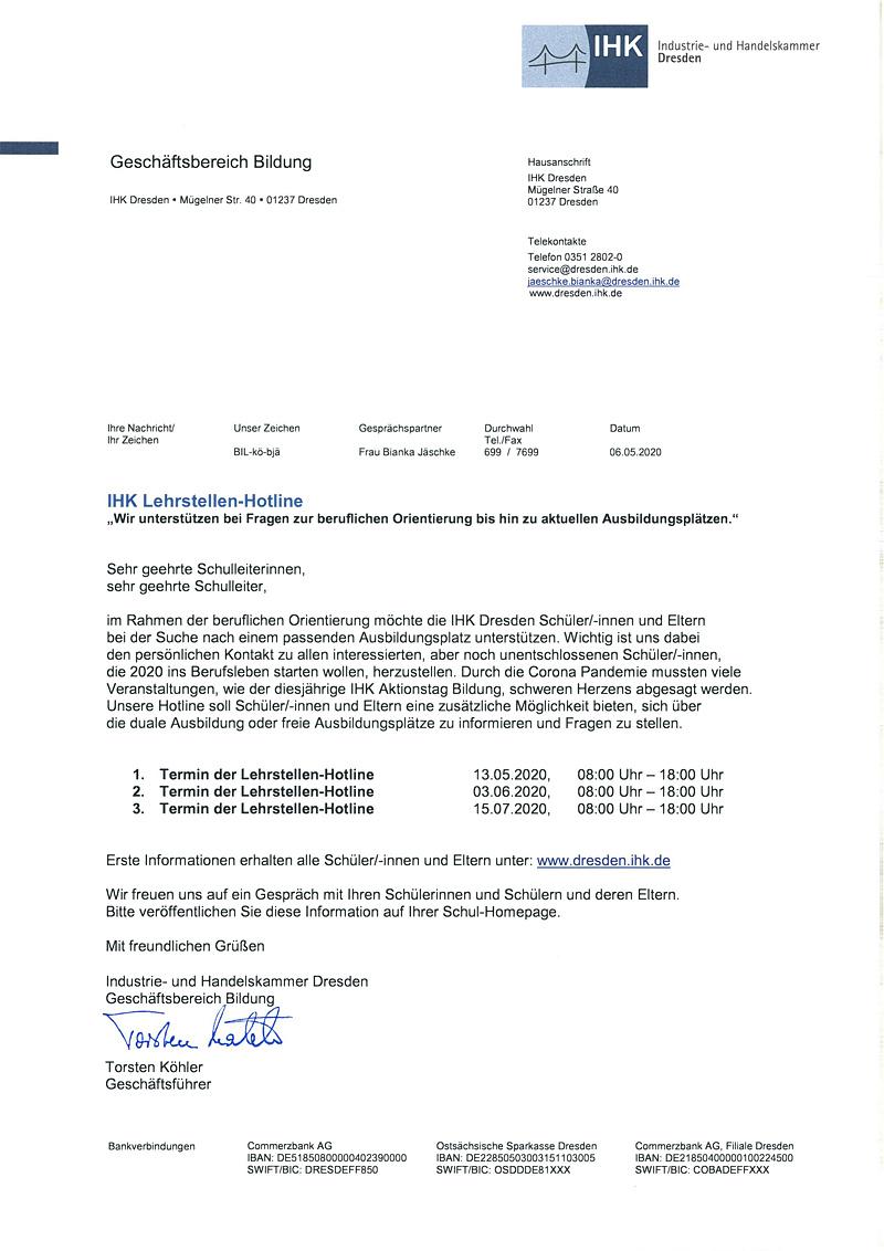 IHK Lehrstellen-Hotline
