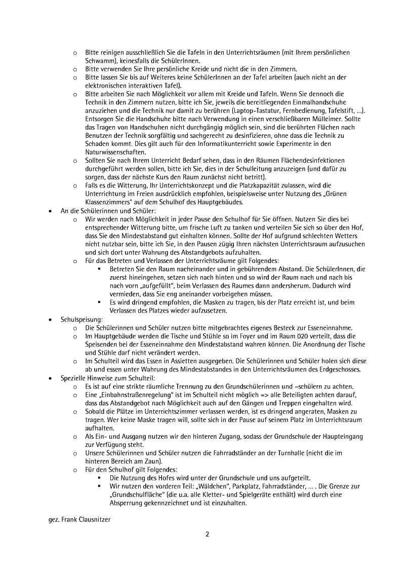 Hygiene-Vorschriften am Pestalozzi-Gymnasium Heidenau – Update