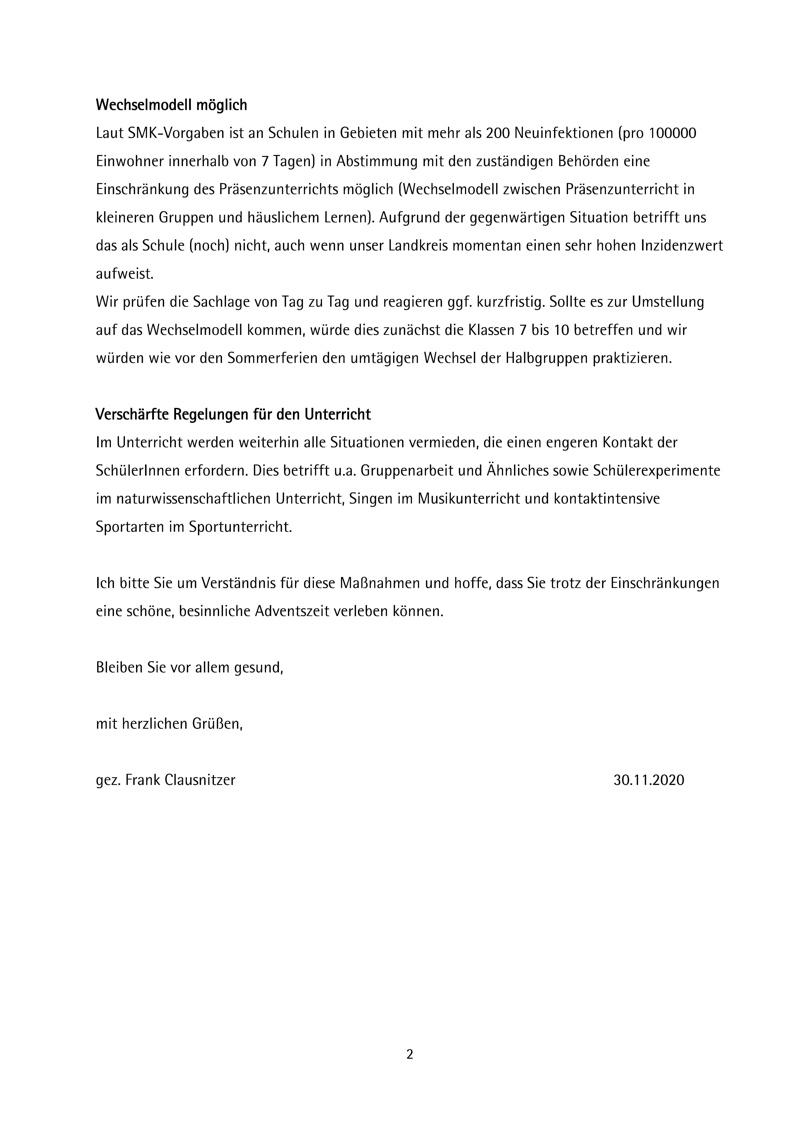Elternbrief zur Lage ab 01.12.2020