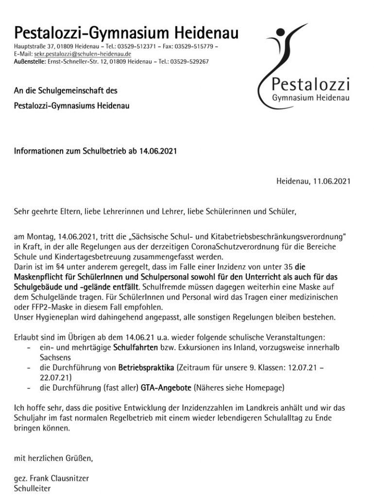 Informationen zum Schulbetrieb ab 14.06.2021