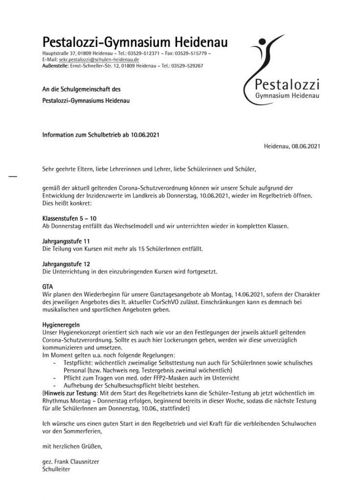 Information zum Schulbetrieb ab 10.06.2021
