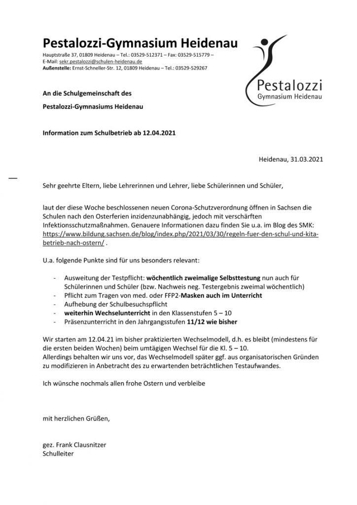 Information zum Schulbetrieb ab 12.04.2021