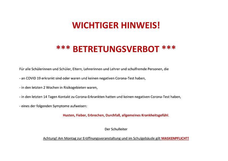 WICHTIGER HINWEIS – Betretungsverbot