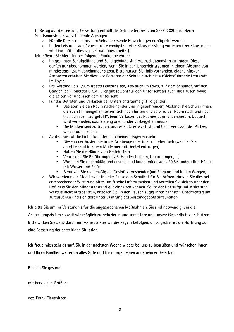 Wiederaufnahme des Unterrichts ab dem 06.05.2020