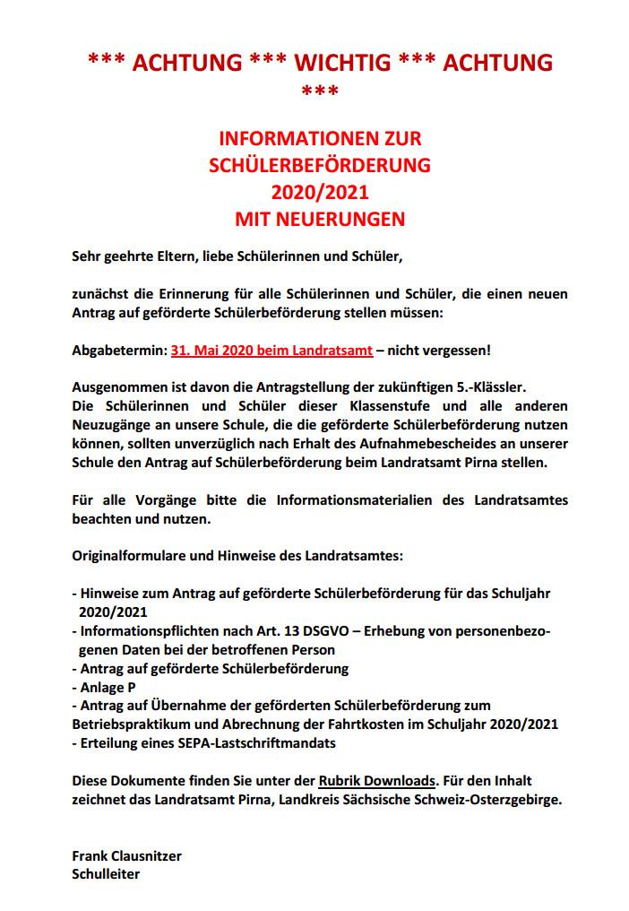 INFORMATIONEN ZUR SCHÜLERBEFÖRDERUNG
